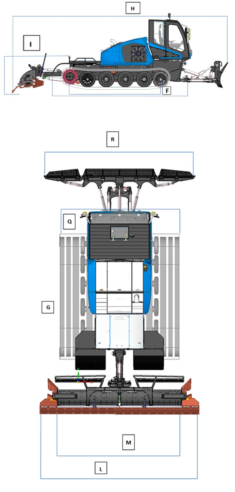 Alpine 510 - CM Dupon Dameuse-groomer-machine-cm-dupon-alpine-510-dimensions-c